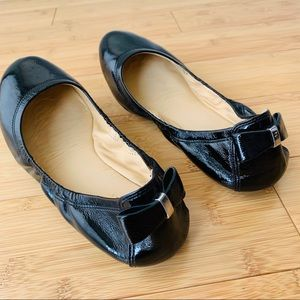Cole Haan Ballet Flats - Black Patent with Bow